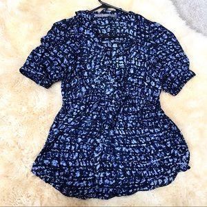 ZARA black blue violet ruffle front blouse top